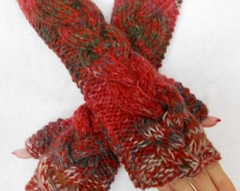 Fingerless Gloves Chunky Cabled Warm Arm Warmers Extra Long Red Green Brown Grey