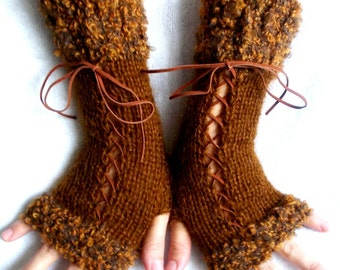 Knit Angora Mohair Fingerless Gloves Corset  Arm Warmers in Amber Brown Tones