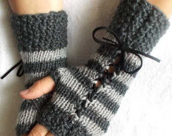 Knit Fingerless Corset Gloves Striped Grey  Wrist Warmers with Black Suede Ribbons