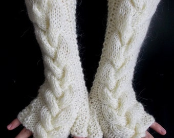 Chunky Fingerless Gloves, Arm Warmers Cream Cabled Extra Warm Mohair Acrylic
