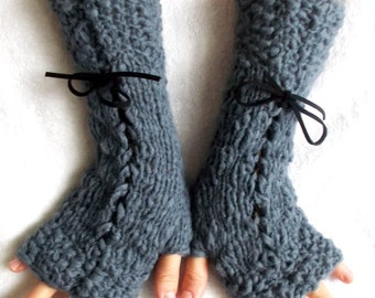 Fingerless Glove Knit Grey Corset Arm Warmers with Suede Ribbons Victorian Style