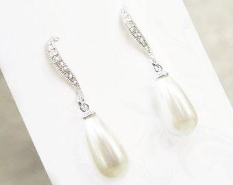 Simple Pearl drop wedding earrings, silver rhinestone, elegant demure hooks