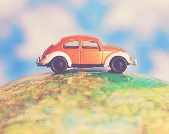 Kids Wall Art - VW Beetle - pumpkin orange green blue yellow kids decor