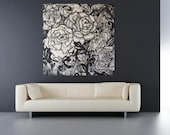 Upon Waking -  Stretched Canvas Print Abstract Drippy Flowers  Large black and white Roses Wall Art Floral Living Room
