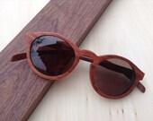 THANKS  handmade round vintage 1960' s rosewood eyeglasses sunglasses