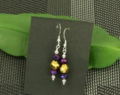 Hollywood Glam Gold and Purple Earrings