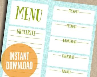 Aqua Weekly Menu Planner Printable Instant Download