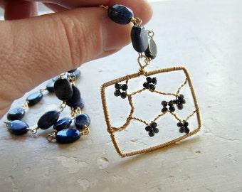 Cherry Blossom Pendant, Flower Branch Pendant, Gold Filled Necklace, Black Spinel, Lapis Lazuli, Wire Wrapped Pendant, Floral Pendant