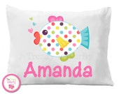Personalized Polka Dot Fish Pillow Case