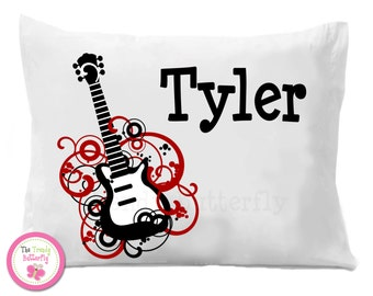 Boys Guitar Pillow Case , Personalized Pillow Case