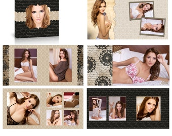 Instant Download - SAMANTHA 12X12 Boudoir Album Template for Photographers  - Photoshop PSD Files - Millers