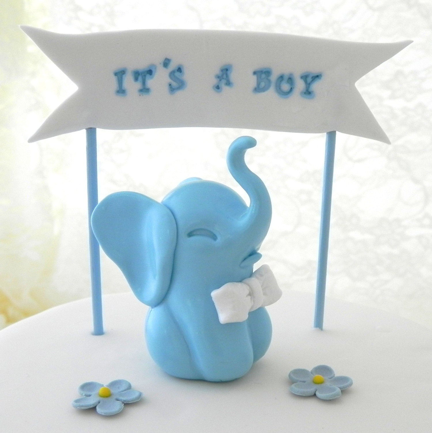 items similar to baby shower cake topper blue baby boy elephant