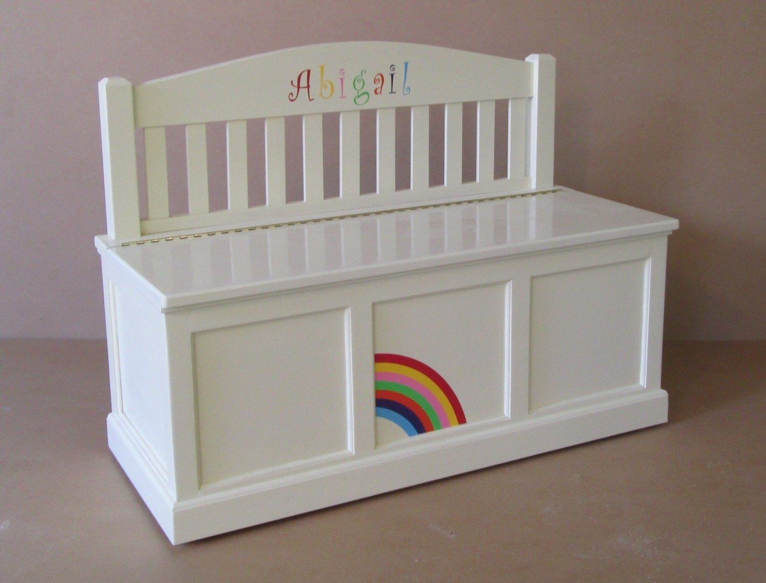 Wooden toy chest bench antique white rainbow