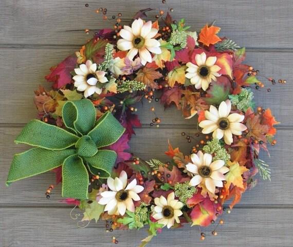 Fall Wreath, Bright Colors of Autumn, Door Wreath