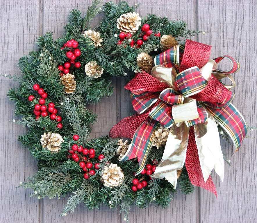 front door wreath plaid and gold winter wreath christmas. Black Bedroom Furniture Sets. Home Design Ideas