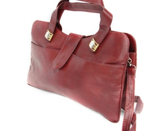 Ruby, French Vintage, OxBlood Leather Satchel, 1970s Handbag from Paris