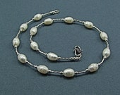 Faceted White Freshwater Pearl Sterling Silver Necklace - N368