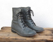 Vintage Distressed Grey Leather Lacer Rodeo Boots Size 6.5, ladies 7.5 - Trustfund21