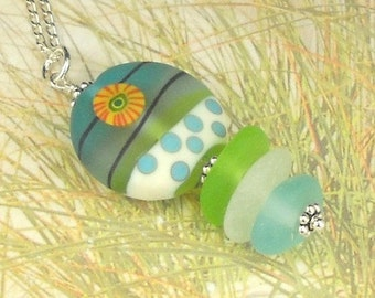 Eco Friendly GENUINE Sea Glass Necklace Spring Flower SRA Lampwork Bead
