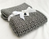 Silver gray blanket - child afghan