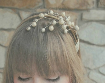 Ivory and taupe berry flower headband for women, cocoa: free shipping all the time at ahnooshig