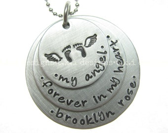 Miscarriage Necklace Infant Loss Jewelry Memorial Jewelry Personalized Jewelry Remembrance Jewelry Hand Stamped Jewelry