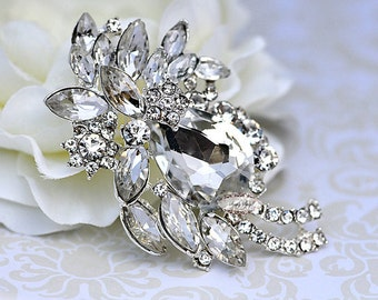 Rhinestone Brooch Embellishment - Flatback - Rhinestone Broach - Brooch Bouquet - Supply - Wedding Jewelry Supply - RD280