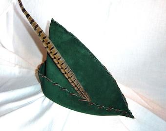 Robin Hood Hat - Hunter Green Suede, Brown Trim