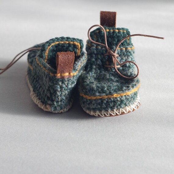 Children Boot-laced Boots in green and bright turquoise mix with mustard yellow trim - House Shoes - Children U.S. sizes 8-13/EUR 25-31
