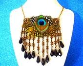 Peacock Feather Necklace- Blue Necklace- Boho Necklace