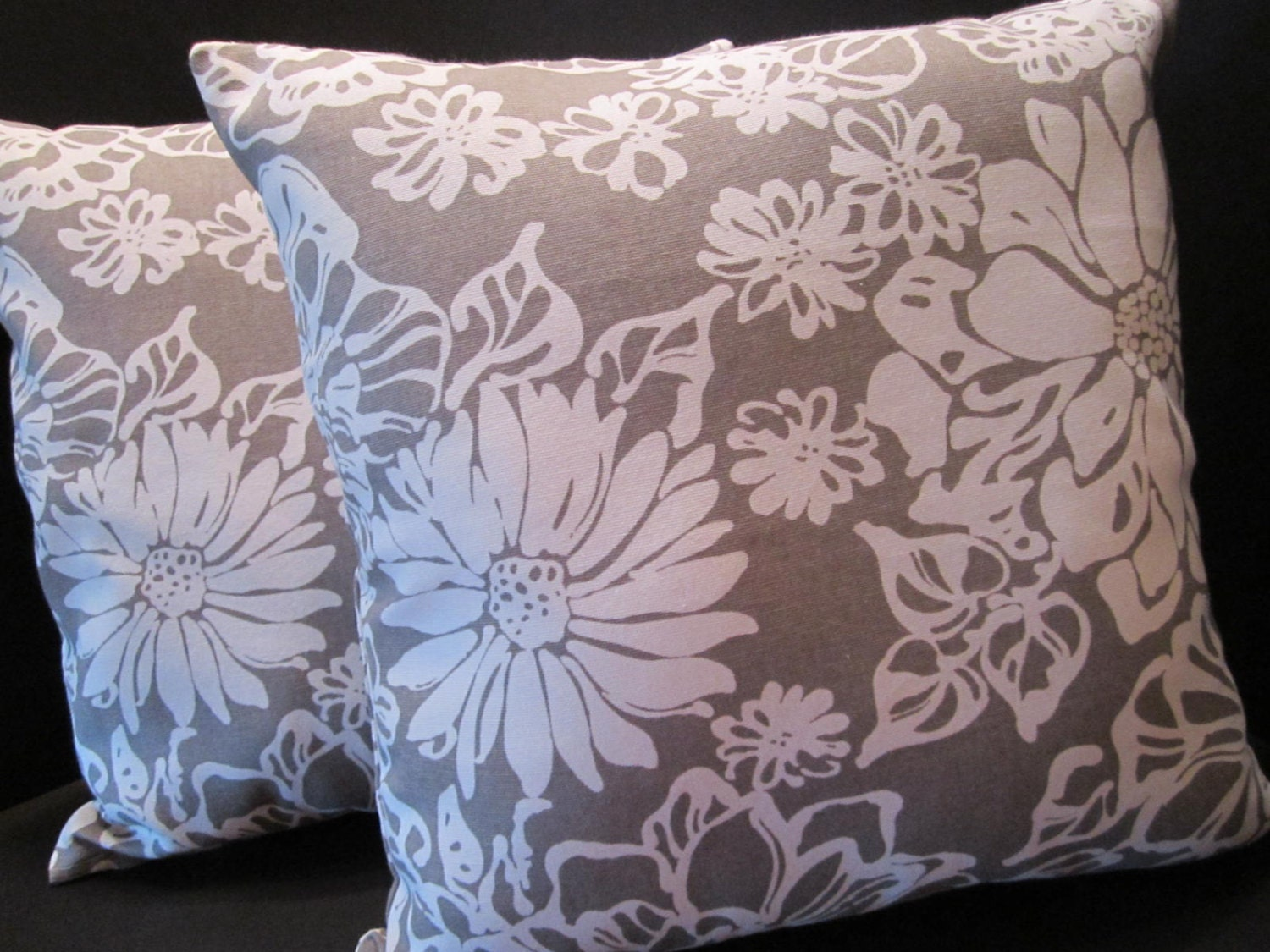 pillow cover grey gray and white floral 16 inch. Black Bedroom Furniture Sets. Home Design Ideas