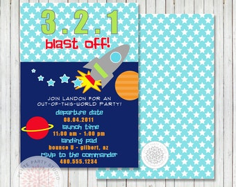 SPACE ROCKETSHIP Printable Birthday Party Invitation - Petite Party Studio