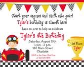 Racecar party birthday invitation -- racing birthday party - race cars - race car