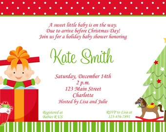 Christmas Baby Shower Invitation Christmas Baby Holiday Baby Shower Invitation