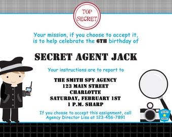 Spy birthday party invitation Spy Party Invitation Spy Party Mystery Party