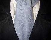 Cravat, In A Gray Blue Spirally Pattern or Ascot Mens Victorian Tie.