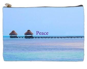 Peace Cosmetic Bag, Save Our Ocean Cosmetic bag, Zen makeup pouch, zipper makeup bag, beach cosmetic makeup bag, cosmetic pouch