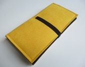 Smartphone wallet Charcoal/Yellow handmade to fit iPhone 6, HTC One M9, Nexus 6, Samsung S6 Edge