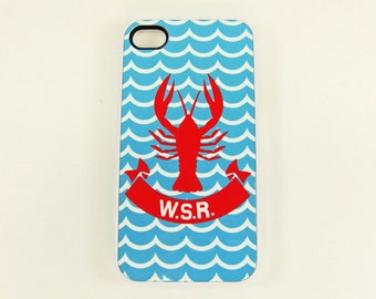 iPhone 4, 4S or 5 Cell Phone Case Lobster and Monogram, Beach Cell Phone Case, Seashore iPhone Case, Red And Blue, Ocean