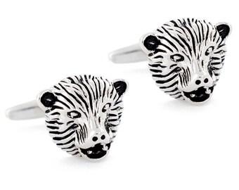 Black And Silver Bear Head Cufflinks 1200425