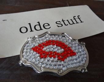 Vintage Rhinestone Lips Belt Buckle