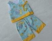 Baby Infant Kimono with Pant, Vintage Nursery Print of Zoo Animals, sizes 0 through 24 month