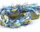 Large Art Fiber Bundle - French Cream, 26 Yards of Novelty Yarns, Blue, Tan