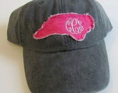 North Carolina Monogrammed Baseball Cap Personalized Hat Bridesmaid Birthday Gift