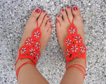 Lovely crocheted silk barefoot sandals in red