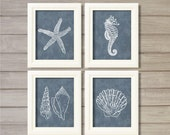 Nautical Creatures Navy Blue -8x10- Starfish Sea Shell Beach Ocean Instant Download Digital Printable Bathroom Decor Living Room Wall Art
