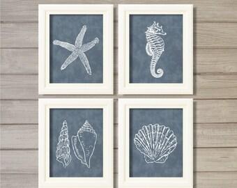 Nautical Creatures Navy Blue -8x10- Starfish Sea Shell Beach Ocean Instant Download Digital Printable Bathroom Decor Living Room Wall Art