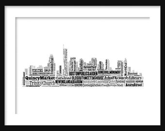 Boston Skyline Word Art Typography Print Poster Map