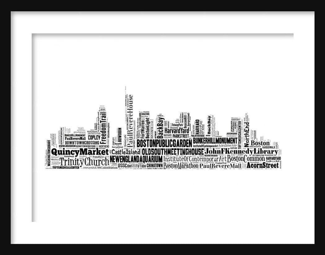 Old Maps Of Boston City Maps Etsy Los Angeles Neighborhood Type - Los angeles poster black and white