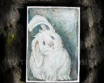 ACEO Original -BUnny- Collectible miniature painting ....watercolour card nature